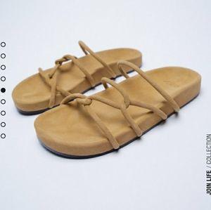 Zara chunky leather flats